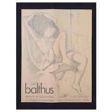 Affiche / Poster - Balthus dessins et aquarelles 1976 Paris
