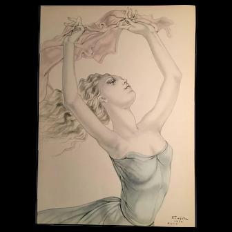 Foujita , a dancing girl by Japanese artist Tsuguhara Foujita