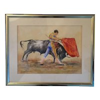 "Sanchez Vazquez  ""the bullfight Antonio Ordonez"" a watercolor by this Spanish artist"