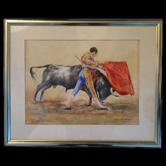 "Sanchez Vazquez  ""the bullfight Antonio Ordonez"" a watercolor by this Spanish artist"