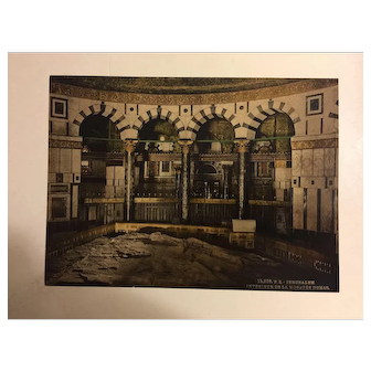 "Photochrom print "" Jerusalem , interior de la mosque Domar"""