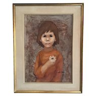 Nadi Ken , a little Girl with a Flower by this French artist