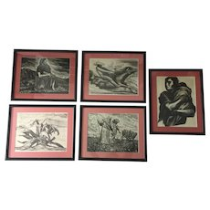Mexican Masters of Graphic Arts , 5 prints / plates of the binder