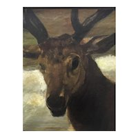 Deer head , well executed oil painting.