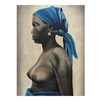 Rare painting of a Congolese Woman with a bleu scarf