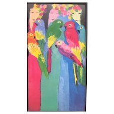 """Walasse Ting / Shanghai 1927 - New York 2010  """"Geishas with Parrots"""""""