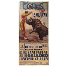 "Spain - Original Poster/Cartel ""Corrida de Toros -San Lucar"""