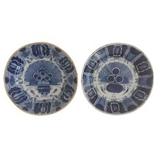 """Pair of  Antique 18th'C Delft """"Peacock"""" Chargers"""