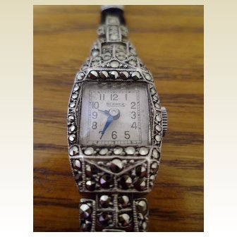 French Art Deco Silver and Marcasite Bernex Ladies Cocktail Watch
