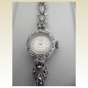 Vintage Nivada Sterling Silver and Marcasite Ladies Cocktail Watch