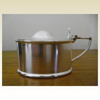 Art Deco Chester Silver Hallmarked Mustard Pot with Original Bristol Blue Glass Liner