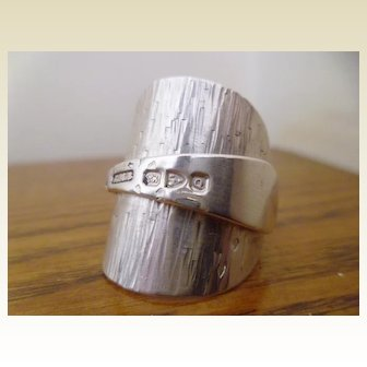 Victorian Chester Silver Hallmarked Spoon Ring