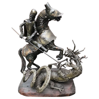 Vintage St. George and the Dragon metal sculpture
