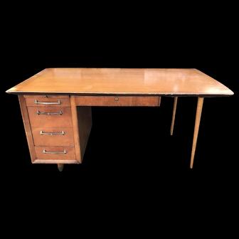 Mid Century Wooden Tanker Desk