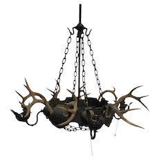Antique hunting lodge antler Chandelier