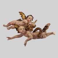 "Polychromed wood Baroque Bohemian angels -17th-18th c. 30"" L & 26"" L"
