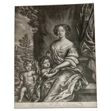 Mezzotint Engraving - Nell Gwynn English Restoration Actress