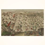 Antique 18th c. Hand-colored Copper Engraving of an 18th Century Military Encampment