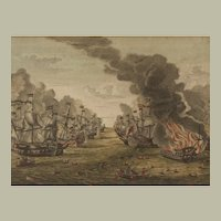 An Antique 18th c. Hand-colored Copper Engraving of a Naval Battle