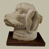 """Indian Stone Head Of Varaha, Boar God/Vishnu Avatar 15""""H x 9"""" W x 15"""" D"""