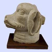 "Indian Stone Head Of Varaha, Boar God/Vishnu Avatar 15""H x 9"" W x 15"" D"