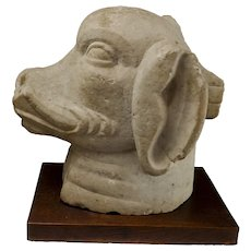 Indian Carved Stone Head Of Varaha, Boar God/Vishnu Avatar