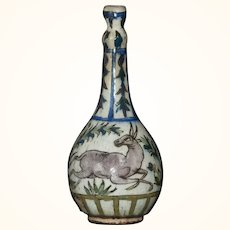 17th/18th c, Persian Fritware Bottle With Traditional Scenes