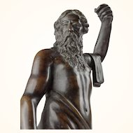 Continental Bronze Sculpture of Poseidon, early 17th century
