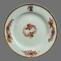 Meissen KPM Phoenix and Dragon Plate With Arms for the Elector of Saxony