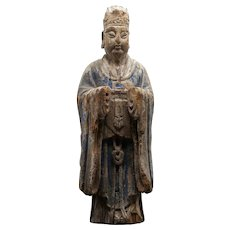 Chinese Ming Dynasty Polychrome Carved Wood Figure Of A Court Attendant