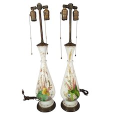 Pair English c. 1840 White Bristol Glass Vases With Hand-painted Botanicals Converted To Lamps