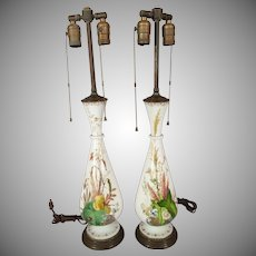 Bristol Glass Lamp with Hand-painted Botanicals