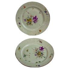 Pair floral porcelain basket-weave Frankenthal plates 1765