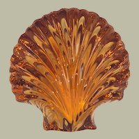 French St Louis Amber Glass Clam-shaped Paperweight