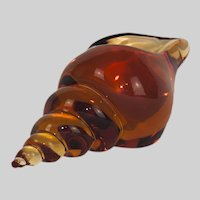French St Louis Amber Glass Conch-shaped Paperweight