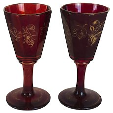 Pair of Antique c. 1830 Bohemian Faceted Ruby Glasses