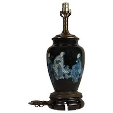 Contemporary Chinese Studio Porcelain Blue And White Figural Vase Mounted as a Lamp