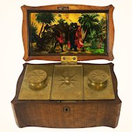 English or American 18th c. Mahogany Tobacco Caddy with French Verre Eglomise Panel