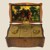 Rare English or American 18th c. Mahogany Tobacco Caddy with Eglomise Panel