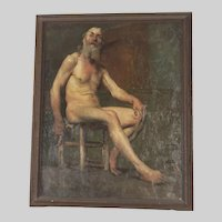 """Painting Of A Male Nude By Alfred-Jacque Boisson (1866-1947)- 34.5"""" x 29"""""""