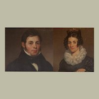 Pair American Federal marriage portraits of Phillip and Sarah Dorsheimer ca. 1825