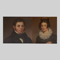 Pair American empire marriage portraits of Phillip and Sarah Dorsheimer ca. 1825