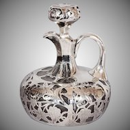 Antique Alvin Silver Overlay Decanter with Stopper