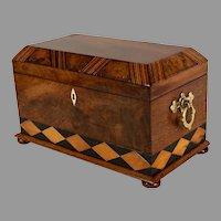 English Victorian Tunbridge Ware/Specimen Wood Tea Caddy c. 1870