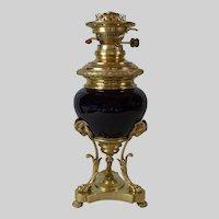 French Napoleon III c. 1860 Gilt Bronze, Brass and Serreguemines Cobalt Majolica Bowl Oil Lamp