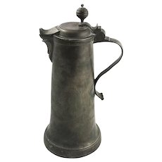 Tall 18th Century German Pewter Wrigglework Flagon, 12.5""