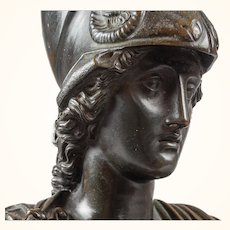 A Patinated Bronze Bust Of The Greek Athena As War Goddess After the Antique