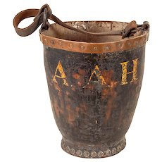 Antique Leather Fire Bucket with Copper Collar & Copper Rivets with Painted Owner's Initials
