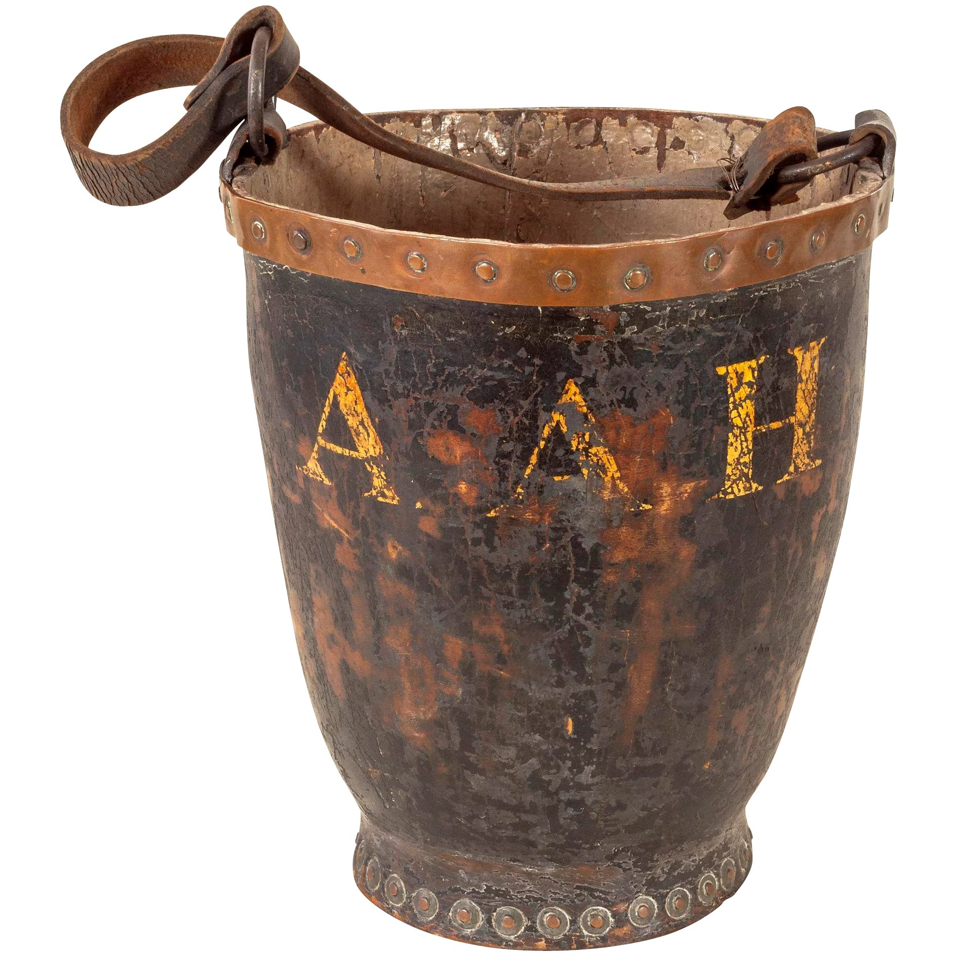Antique Leather Fire Bucket With Copper