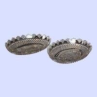 "Pair of Regency 1825 Period Anglo-Irish Cut Crystal Fruit Bowls, 12.5""x9""x2.5"""